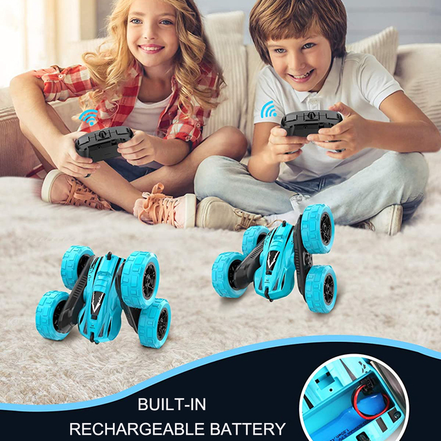 4WD RC Car 2.4G Radio Remote Control Car 1:24 Double Side RC Stunt Cars 360° Reversal Vehicle Model Toys For Adult Children Boy 2
