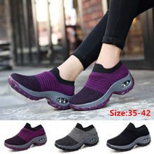 Wedge Sneakers Slip-On-Shoes Walking Cushioned Casual Women's Stitching