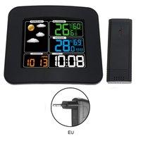 5 In 1 RF Wireless Sound Control Alarm Clock TS 75 Electronic Temperature Humidity Calendar Desk Clock Digital Weather Forecast