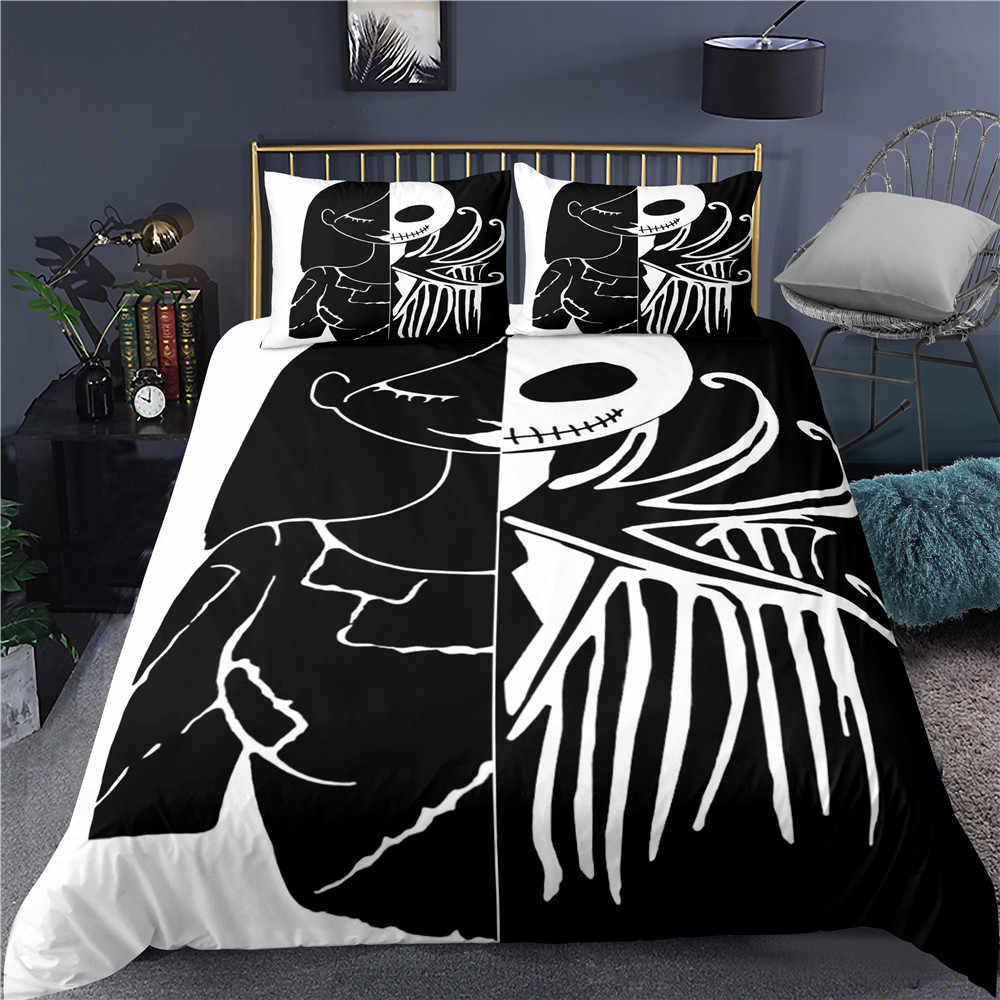 cartoon jack bedding set black white luxury bed linen set twin full queen king size bed cover halloween gift bed quilt cover
