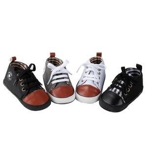 Новорожденные Девочки Мальчики противоскользящая мягкая подошва обувь холст первые ходунки на шнуровке Младенцы Малыши Дети Prewalker обувь ...