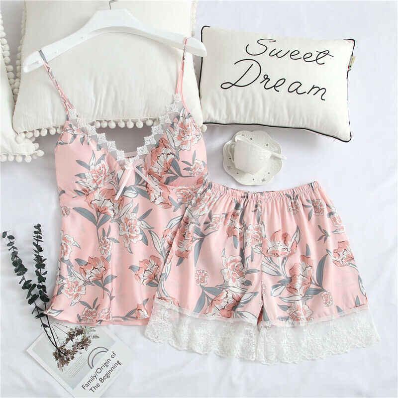 Hirigin 꽃 여성 잠옷 세트 레이스 패치 워크 패션 잠옷 Nightwear 2020 새로운 여름 맞는 실크 Nightwear 2 조각 세트 뜨거운