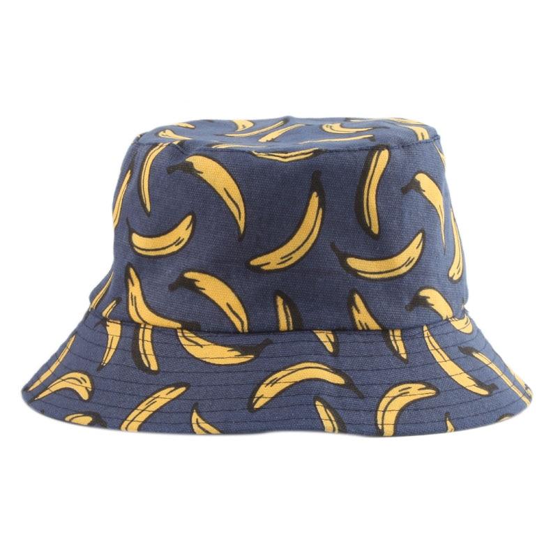 Summer Outdoor Bucket Hat Unisex Summer Bucket Cap Banana Print Fishing Fisherman Hat Casual Fashion Flat Hats Navy Blue