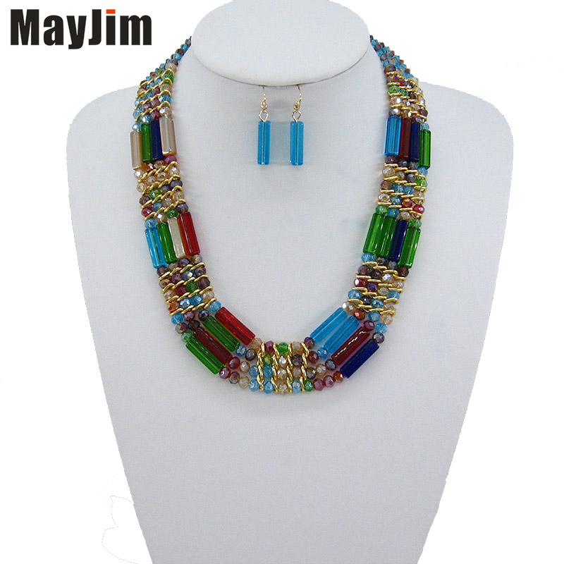 2020 Statement fashion Vintage Choker necklace chain yellow african nigerian crystal bead jewelry sets Handmade jewelry sets