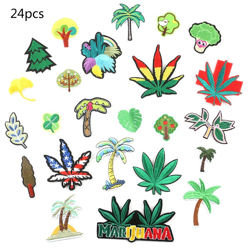 24Pcs Cartoon Plant Maple Leaf Vegetable Patch Badge Embroidered Iron On/Sewing Applique Emblem DIY Clothes Decoration