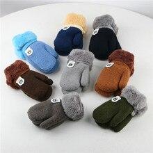 Вязаные зимние перчатки для детей, утепленная и меховая вязаная перчатка Luvas De Inverno Handschuhe, Детские ручные перчатки