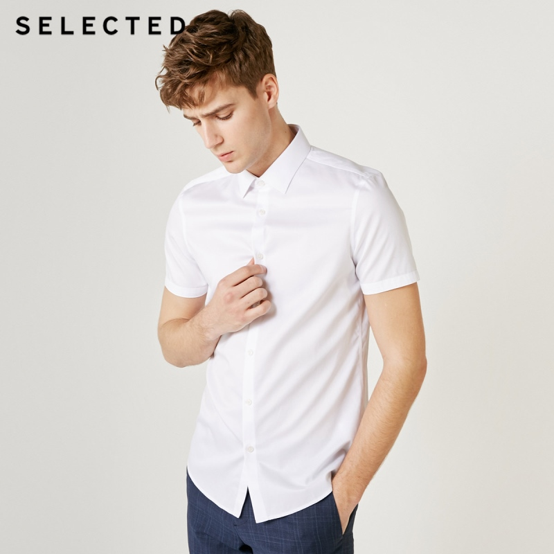 SELECTED Men's 100% Cotton Pure Color Slim Fit Business Casual Short-sleeved Shirt T|419204509