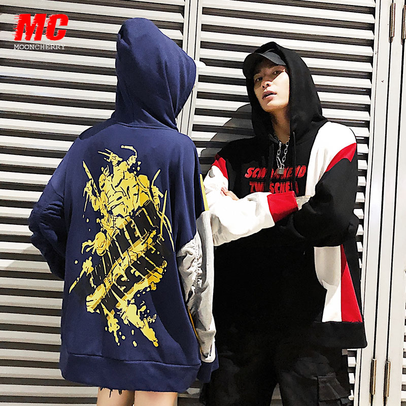 NoEnName Null Coréen sweatshirts à capuche de couple Patchwork Bleu Femmes Lâche Automne Rue Bf Tendance Personnalité Sweat À Capuche Harajuku grande taille 50cs - 5