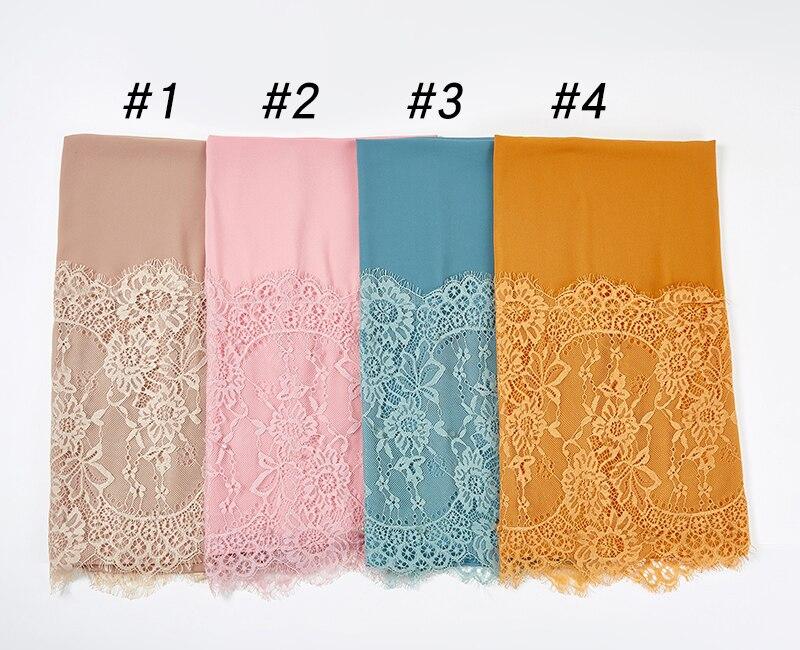 10pc/lot Plain Lace Scarf Buble Chiffon Muslim Scarf Shawl Muslim Solid Color Lady Muffler Luxury Foulard Hijabs