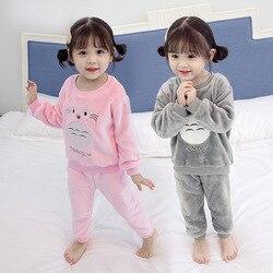 Conjuntos de pijama de veludo quente grosso para o inverno feminino manga longa coral veludo pijamas crianças meninas dos desenhos animados totoro homewear