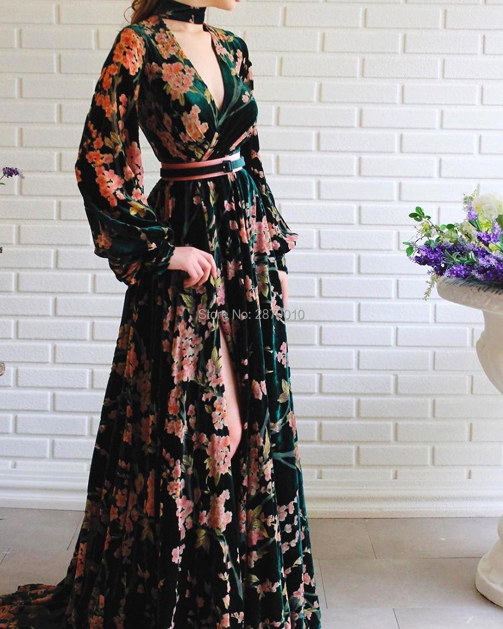 2020 New Arrival Evening Dress A-Line Long Sleeves Floor-Length Formal Dress Sash Prom Dress Velvet Flower Robe De Soiree Arabic