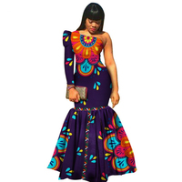 Single Shoulder African Batik Print Sexy Wedding Party Formal Dress 2020 Long Sleeve Plus Size Ankara Traditional Women Dress