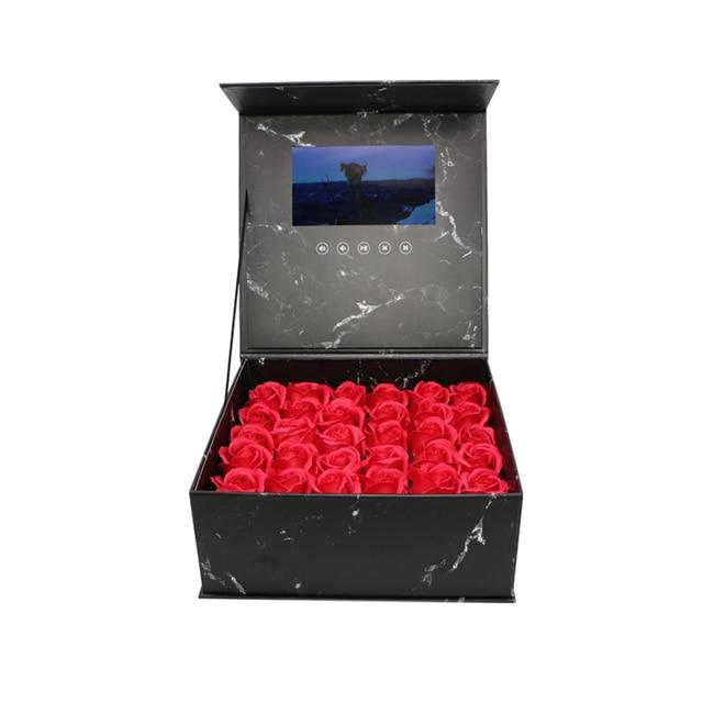 양장본 꽃 비디오 상자 7 인치 2 기가 바이트 메모리 유니버설 인사말 카드 HD 시니어 선물 플레이어에 대한 소책자 매쉬를보고