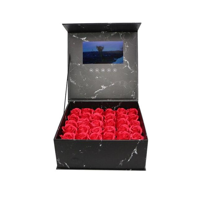 Жесткая обложка Цветы видео коробка 7 дюймов 2 Гб памяти Универсальная поздравительная карта HD просмотр буклет пюре для старшего игрока подарка