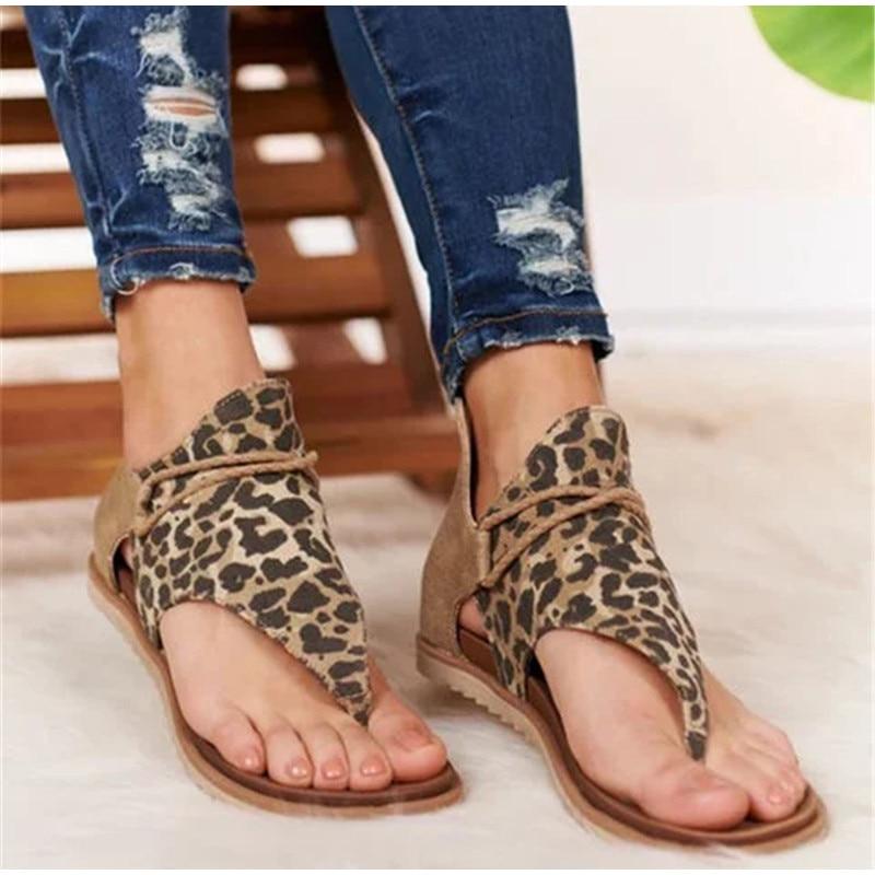MCCKLE Women Sandals Leopard Clip Toe Vintage Flat Retro Shoes Woman Casual Female Beach Sandals Fashion Ladies 2020 Summer