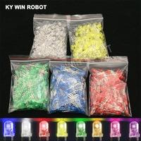 Kit de luces LED en varios colores, surtido de diodos de 5mm en color blanco, verde, rojo, azul, amarillo, naranja, rosa, morado, 100 unidades