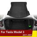 Новый автомобильный коврик из ТПЭ для заднего багажника Tesla Model 3, водонепроницаемые защитные накладки, подкладка для груза, поднос для багаж...