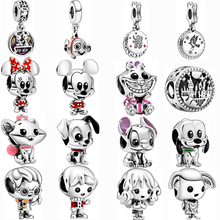 Silver Color Pluto Lilo & Stitch Charm Fit Pandora Bracelet Aristocats Marie 101 Dalmatians Patch Bead DIY Mickey Minnie jewelry(China)