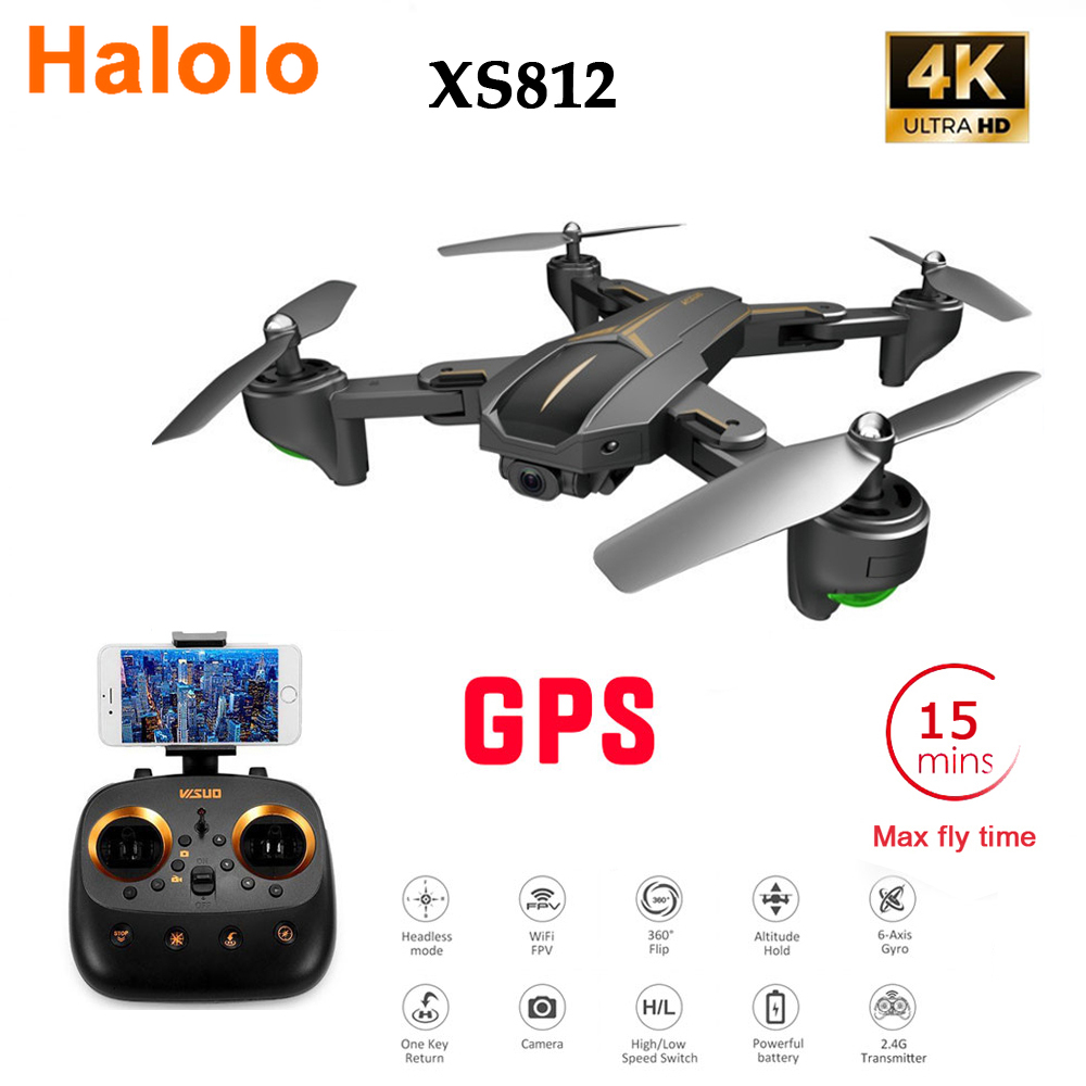 Halolo XS812 GPS 5G WiFi FPV With 4K FHD Camera 15mins Flight Time Foldable RC Drone Quadcopter RTF Kids Birth Gift VS <font><b>f196</b></font> image