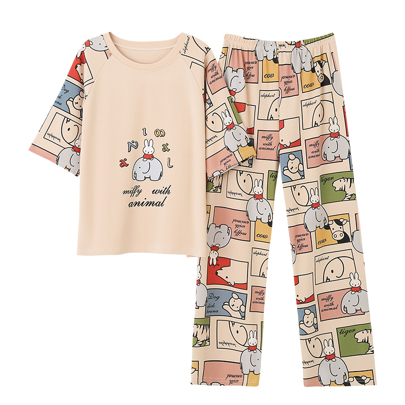 Spring Loungewear Women Crew Neck  Pjs Women Homesuit Homeclothes Fashion Style Cartoon Printing Short Sleeve Long Pants Pj Set