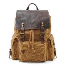 MUCHUAN, топ класса люкс, холст, кожа, унисекс, рюкзаки, большая емкость, водонепроницаемый, Винтаж, рюкзак, Ретро стиль, школьная сумка, подростковая, мокья