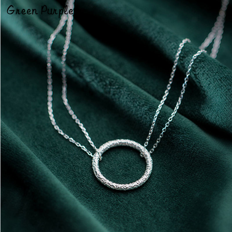 925 Silver Layered Necklace Circle Jewelry Minimalism Pendants Chocker Kolye Vintage Boho Bijoux Femme Collier Women Necklace