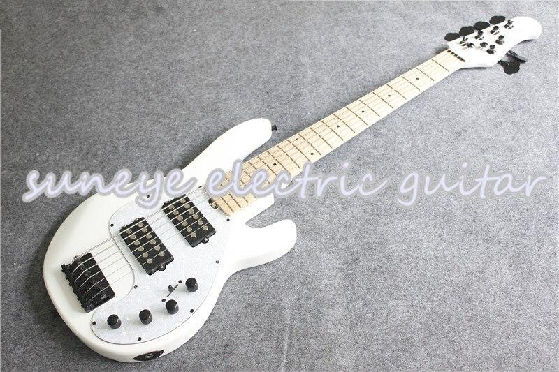 Suneye blanc brillant finition guitare basse électrique homme de musique pique Ray Style 6 cordes guitare basse Kit de guitare personnalisé disponible