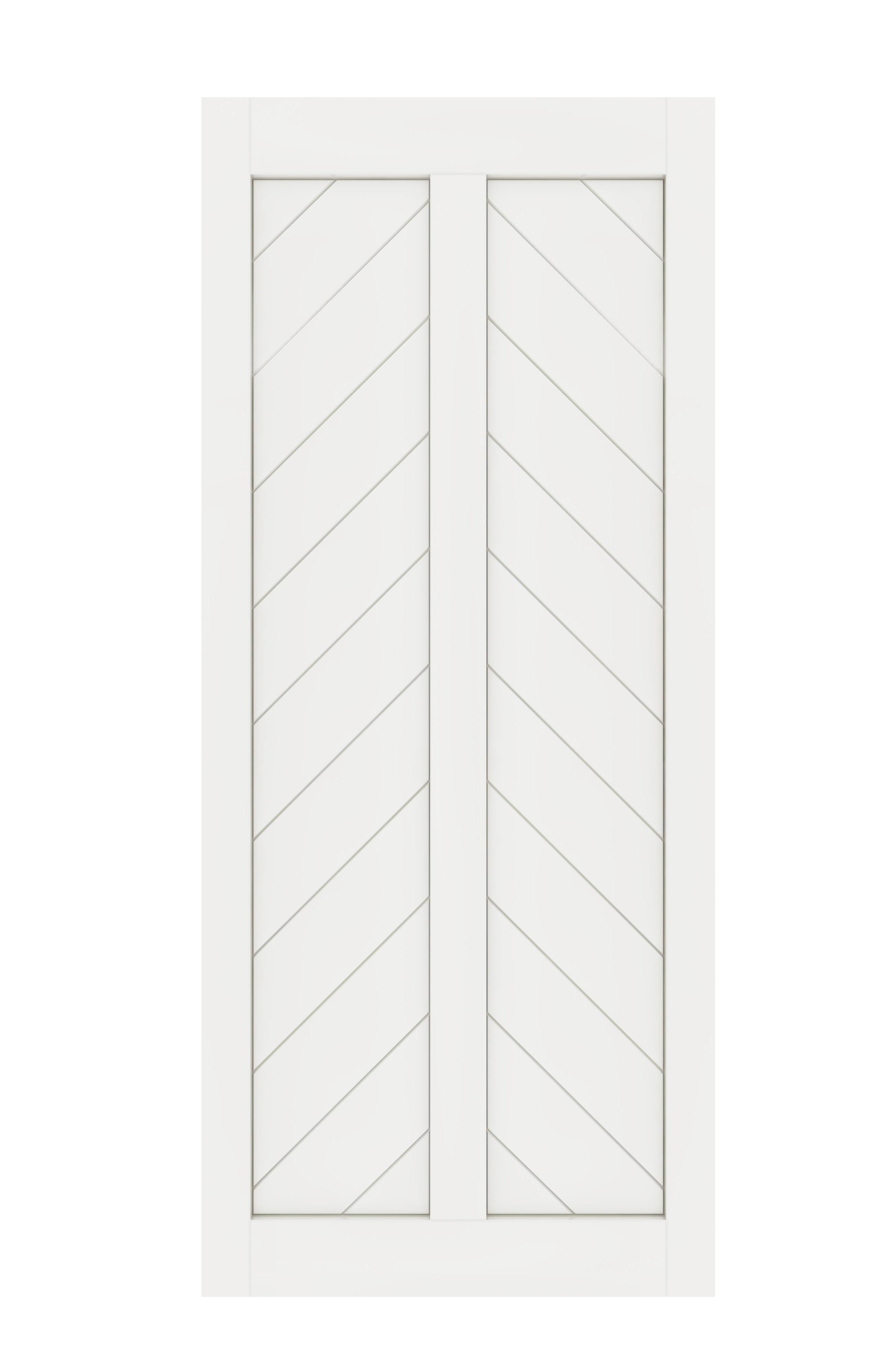 DIYHD Fish Bone V Shape Sliding Barn Slab MDF Solid Core Primed Interior Door Panel(Disassembled)