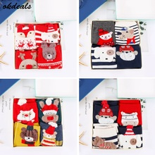 4 Pair/Set Women socks Casual winter Christmas Socks Davids deer Cotton Cartoon Keep Warm lady Gift