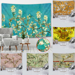 Van Gogh Oil Painting Almond Blossoms Tapestry Headboard Wall Art Bedspread Dorm Tapestry Home Decor