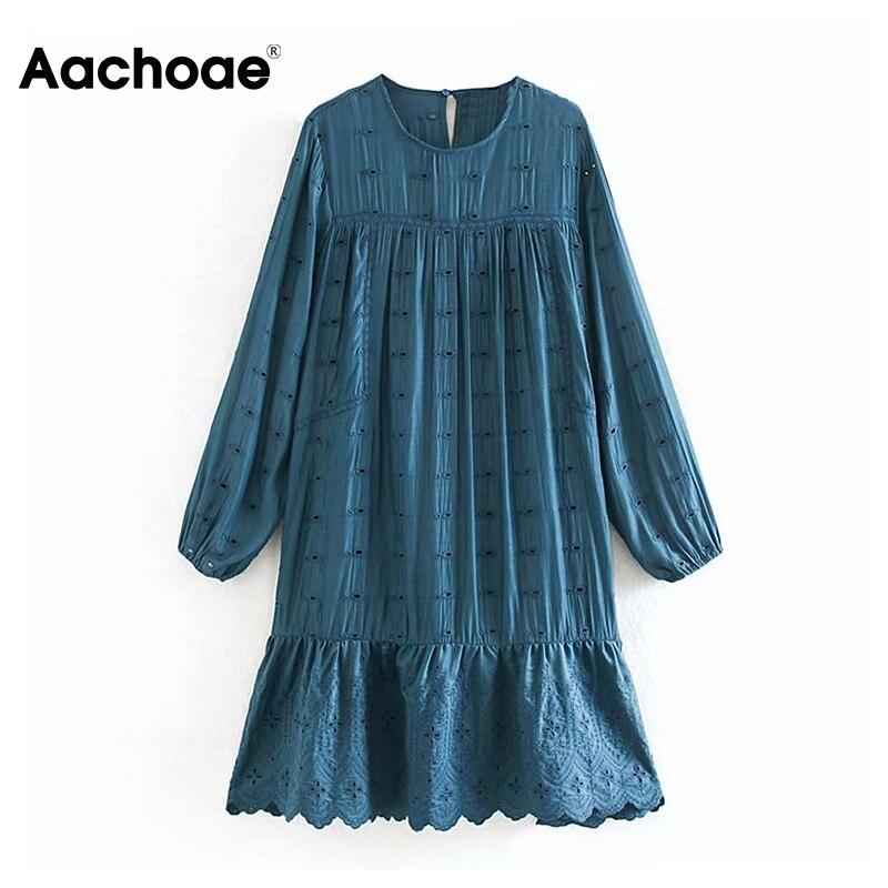 Lady Lace Embroidery Pleated Dress Lantern Long Sleeve Loose Cotton Dress Solid O Neck Female Fashion Knee Length Dress Vestido