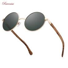 Ravenisa Vintage Metal Round Sunglasses For Men Women Zebra Wooden Sun Glasses Polarized Blue Mirror Eyewear Fashion Wood Goggle