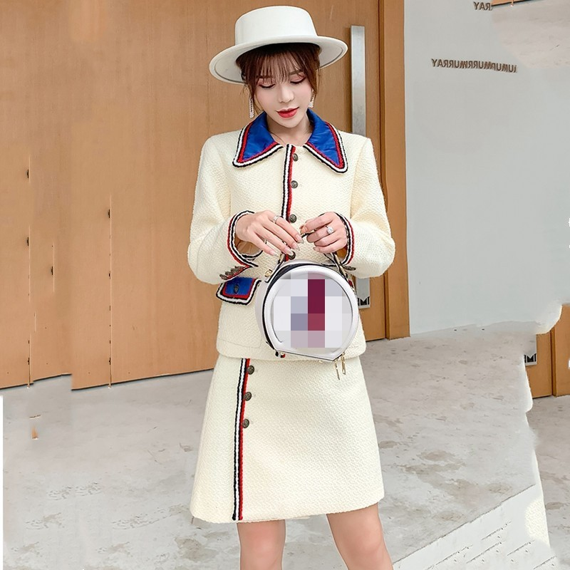 OL Style Women Tweed Short Coats Skirt Two Piece Set Streetwear Autumn Winter Elegant Long Sleeve Slim Jacket Mini Skirt Suit