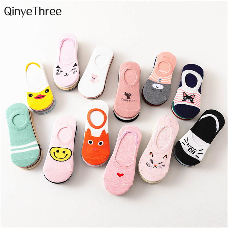 5 Pairs/Lot Summer Korea Socks Women Cartoon Cat Fox Duck Cute Animal Funny Invisible Cotton Socks Dropship