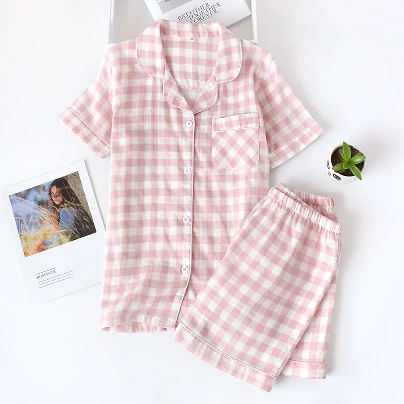 Japanese Simple Short Pyjamas Women 100% Cotton Short Sleeves Ladies Pajama Sets Shorts Cute Cartoon Sleepwear Women Homewear