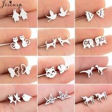 Boucles d'oreilles en acier inoxydable pour femmes, bijoux pour enfants, mignons, papillon, licorne, dinosaure