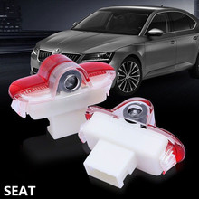 2 X LED Car Door Courtesy Laser Decoration Logo Projector Ghost Shadow Light Accessories For SEAT FR Alhambra Leon MK1 2005 2006
