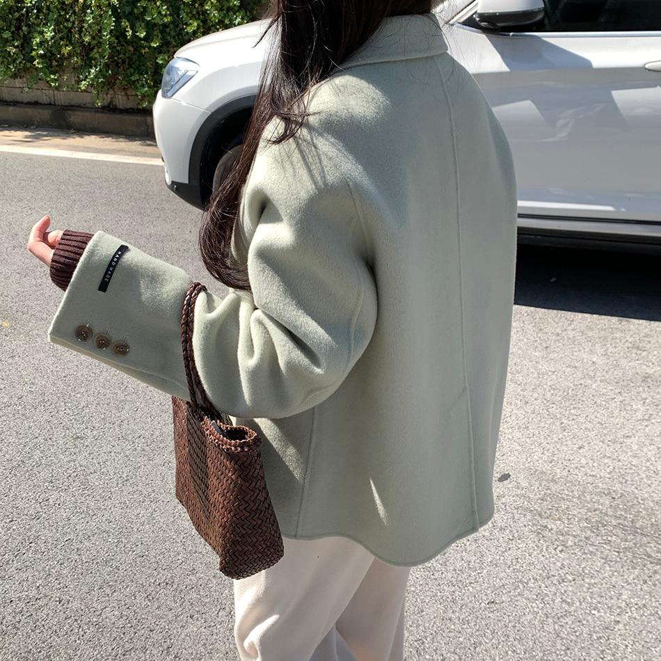 H2981fa720cc54bdcba47557c9f26b9b0R - Winter Korean Revers Collar Solid Woolen Short Coat