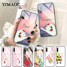YIMAOC best friend forever lovers Glass Case for Xiaomi Redmi 4X 6A note 5 6 7 Pro Mi 8 9 Lite A1 A2 F1