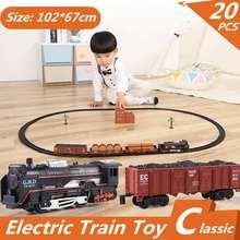 20pcs Electric Racing Rail Car kids Track Train Model Toy Baby Railway Train Racing Road Transportation Building Slot Sets Gift