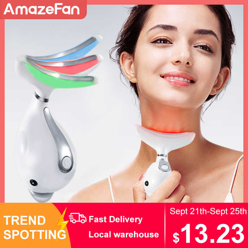 3 renk Led yüz boyun masajı Led foton terapi ısıtma yüz boyun kırışıklık kaldırma makinesi azaltmak soğuk lipoliz cihazı cilt kaldırma