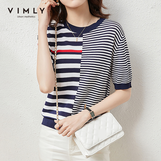 VIMLY Summer Knitted Tops For Women Fashion Round Neck Short Sleeve Pullover Casual Stripe Sweater Women Female Clothes F7397 2