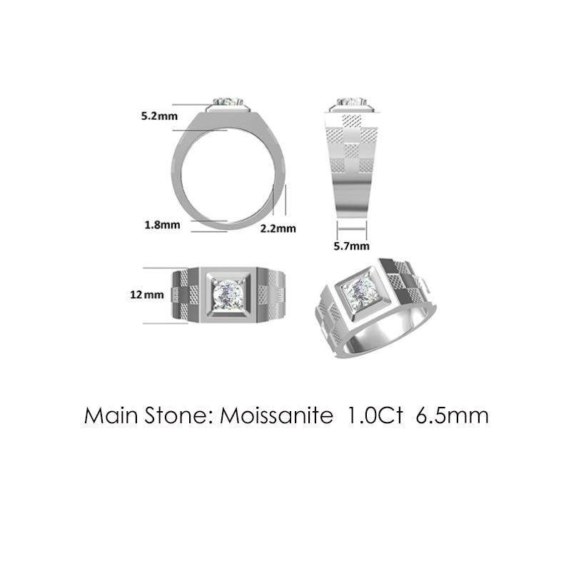 Купить мужское кольцо с муассанитом 65 карата мм
