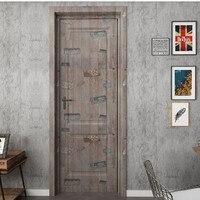Osobowość z drewna winylu naklejki na drzwi pokój dzienny sypialnia Home Decor DIY wodoodporne tapety Art malowidła ścienne naklejki deursticker w Naklejki na drzwi od Dom i ogród na