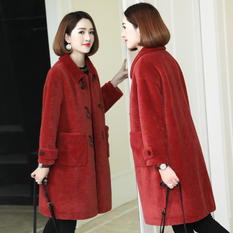 Sheep Fashion Shearling Overcoat Female 2020 Long Real Fur Coat Women Winter Warm Jacket Wool Cashmere Outerwear 1212