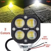 LED ışık MOTO araba sürüş ışıkları 40W sarı beyaz motosiklet kamyon çalışma aydınlatma sis lambası çift renk Jeep Offroad SUV 12V 24V