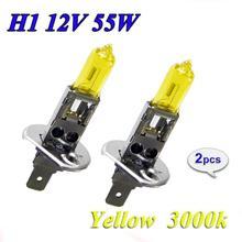 Высокое качество из 2 предметов желтый H1 H3 H4 H7 H8 H11 9005 9006 галогенная лампа для автомобилей 12В 55 Вт 3000 К кварцевые Стекло Ксеноновые фары автомобиля Авто светодиодный светильник
