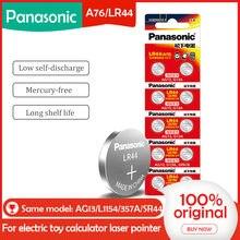 10 pces/1 embala baterias da bateria da pilha de panasonic lr44 a76 ag13 0% hg sr1154 357 lr 44 1.5v para a calculadora 0% hg