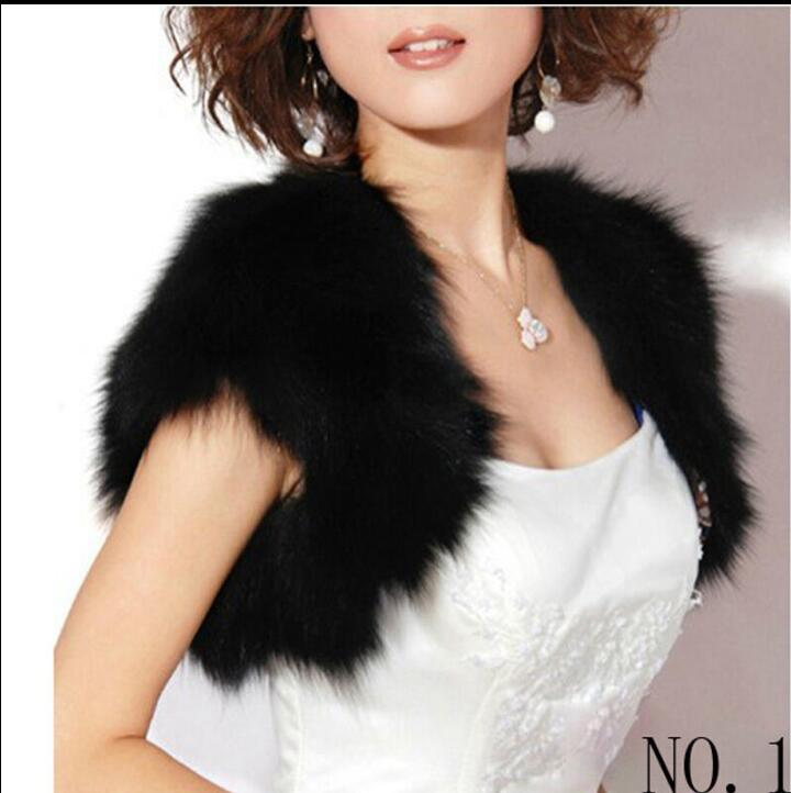Winter Black Faux Fur Wedding Capes Wraps Ivory Faux Fur Bridal Jackets Bolero Sleeveless Wedding Coat