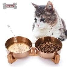 Evcil hayvan besleme kasesi paslanmaz çelik kedi köpek maması kasesi ile ahşap standı 15 derece eğimli kaymaz Pet malzemesi konteyner Pet malzemeleri